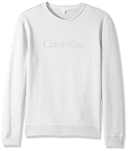 Calvin Klein Men's Logo Crew Neck Sweatshirt, Smoke White, Large by Calvin Klein