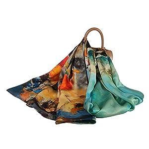 FELOVE 100% Seda Mujer Bufandas Patrón de flores de Morera Pañuelo Seda Grande Chal Wraps Estolas para Mujeres | DeHippies.com