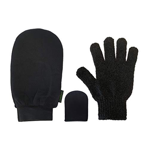 Skinerals Padded Microfiber Applicator Self Tanning Mitt Set with Exfoliator Glove and Face Mitt for Sunless Tanner and ()