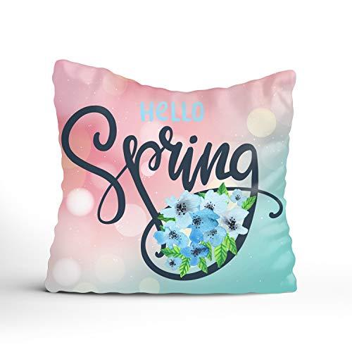 (Hello Spring Blue Flower Throw Pillow Cover Sham Slipover Cotton Linen Pillowcase Square Sham Square for Unisex Adults Women Men 16