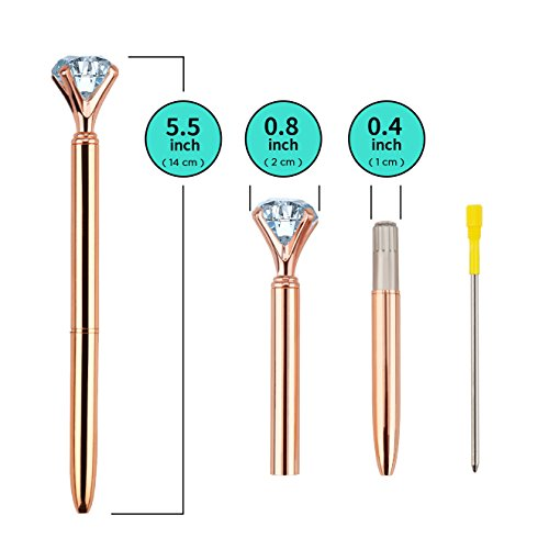 Set of 8 Ballpoint Diamond Pens, 8 Black Ink Refills, 8 Black Velvet Gift Bags. A Cute Assortment of 8 Pretty Crystal Twist-Action Diamond Pens in a Combination of Rose Gold, Gold, Silver and White Photo #2