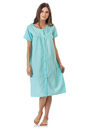 (Casual Nights Women's Short Sleeve Eyelet Embroidered House Dress - Green - XXX-Large)