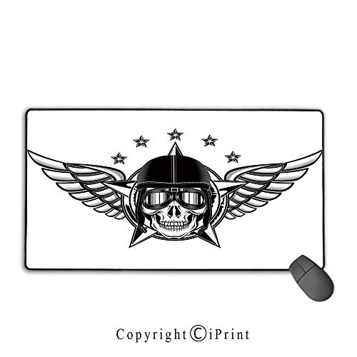 """Non-Slip Rubber Base Mouse pad,Skull,Skull Pilot with Eagle Wings and Stars Fast Day of The Dead Bones Print,Black White,Suitable for laptops, Computers, PCs, Keyboards, Mouse pad with Lock,9.8""""x11.8"""