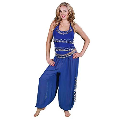 MissBellyDance Harem Pants & Halter Top Belly Dancer Costume Set | Sadiqa II (Royal Blue/Silver, Small) - CS12 -