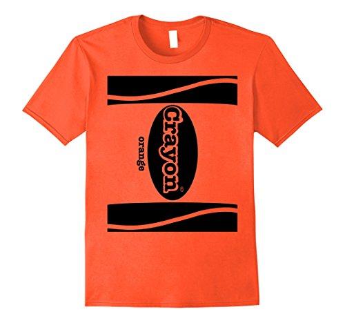 Mens Halloween Team Group Costume Crayon Shirt, Fun Small Orange