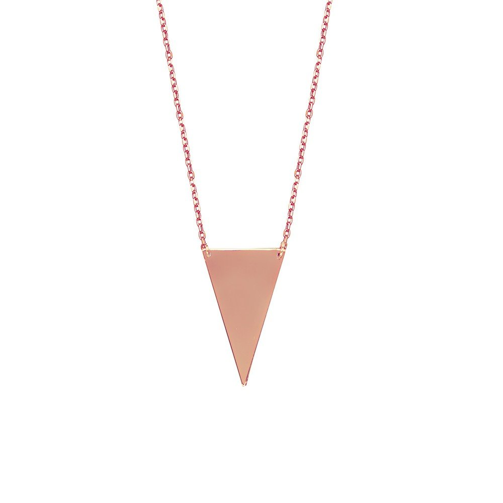 925 Sterling Silver Rose Plated Adjustable Down Triangle Necklace Sparkle-Cut Cable 18 Inch