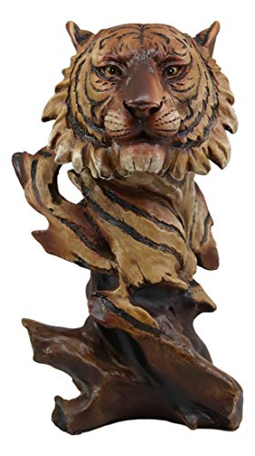 Ebros Faux Wood Large Jungle Wildlife Orange Bengal Tiger Bust Statue 11 Tall Apex Predator Giant Cat Tiger Or Tigress Decorative Figurine Orange Bengal Tiger