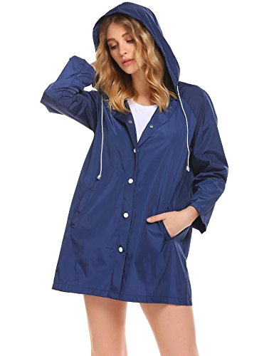 Soteer Womens Lightweight Hooded Raincoat Active Outdoor Waterproof Jacket(Blue-L)