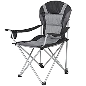 Best Choice Products Deluxe Padded Reclining Camping Fishing Beach Chair with Portable Carrying Case