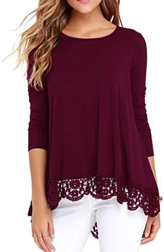 QIXING Women's Tops Long Sleeve Lace Trim O-Neck A-Line Tunic Blouse