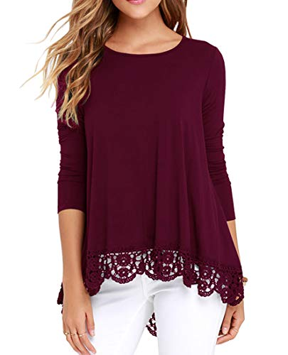 (QIXING Women's Tops Long Sleeve Lace Trim O-Neck A-Line Tunic Blouse Wine Red L)