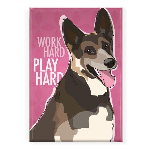 Pop Doggie Work Hard Play Hard German Shepherd Fridge Magnet