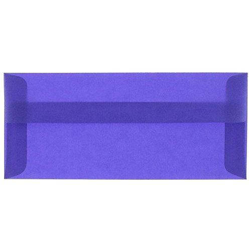 JAM PAPER #10 Business Translucent Vellum Envelopes - 4 1/8 x 9 1/2 - Primary Blue - 25/Pack Blue Translucent Vellum Envelope