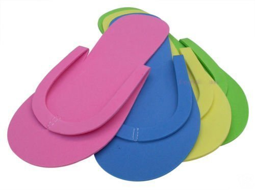 JOVANA 36 Pair Disposable Foam Pedicure Slippers Multi Color Flip Flop Salon Nail Spa (Colors May Vary)