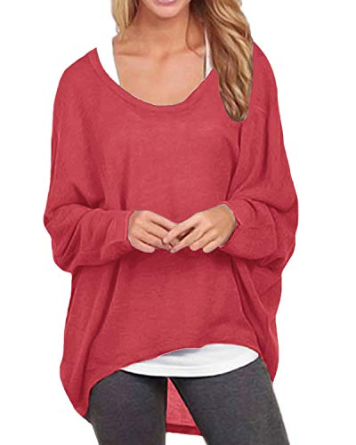 ZANZEA Women's Long Batwing Sleeve Loose Oversize Pullover Sweater Top Blouse Red US 12/Tag Size XL