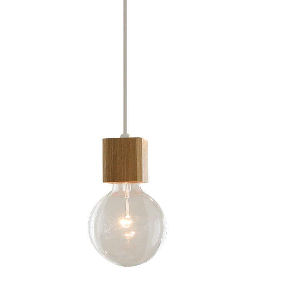 BOKT 1-Light Minimalist Ceiling Pendant Lamp Enjoy DIY Multi-Hanging Lantern kit Natural Wooden Lamp Holder E26/E27 Island
