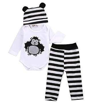 3pcs suit!! Newborn Infants Baby Boys Girls Rompers +Long Pants +Hats cartoon Outfits Set Clothes (4-6 Months, Black)
