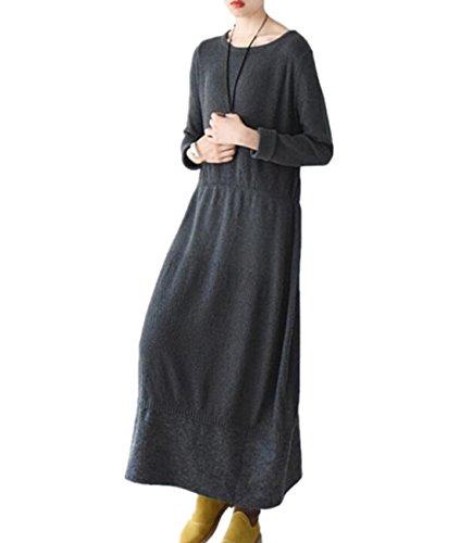 Silk Blend Sweater Dress (Yesno JY0 Women Long Elegant Fitted Sweater Dress Knitted Dress Wool Hem Stitching Crew Nick Long Sleeve)