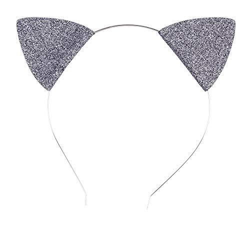 Lovely Children and Baby Glitter Kitten Ears Headband Cat Ears Children Hair Bands (Grey Silver)]()