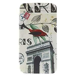 compra Arco del Triunfo y el patrón caja dura del cuero Bird para Samsung Galaxy I9200 6.3 Mega