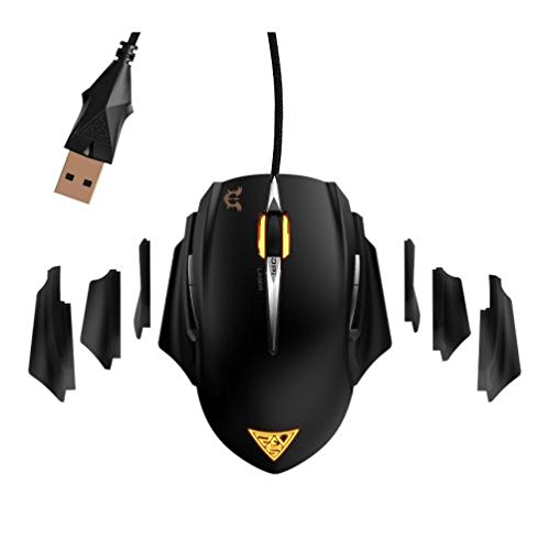 GAMDIAS Erebos Laser Gaming Mouse with 8200 DPI, Adjustable Side Panels, Weight System & 8 Programmable Buttons (GMS7510)