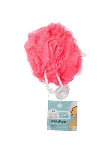 (Purely Me Nylon Mesh Pouf Body Puff Bath and Shower Scrubber, Pink, 1-Pack)