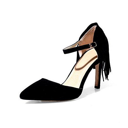 Amoonyfashion Vrouwen Gesp Spikes Stilettos Mix Materialen Stevige Puntige Gesloten Teen Pumps Schoenen Zwart