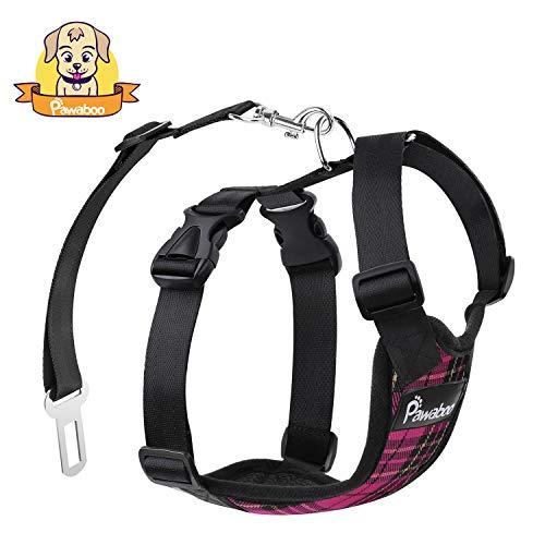 Pawaboo Dog Safety Vest Harness, Pet Dog Adjustable Car Safety Mesh Harness Travel Strap Vest with Car Seat Belt Lead Clip, Extra Large Size, Rose Red Grid