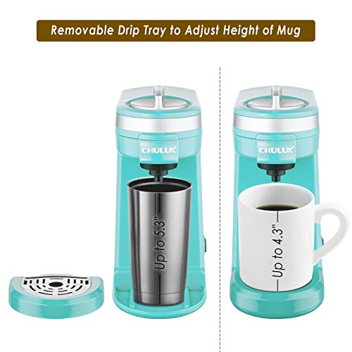 CHULUX Single Serve 12 Ounce Coffee Brewer,One Button Operation with Auto Shut-Off for Coffee or Tea,Cyan