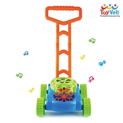 ToyVelt Bubble Lawn Mower for Kids - Automatic Bubble Machine with Music Sounds Best Toys for Toddlers Plus 4 x Bottles of Solution & 4 x Sticks - for Boys & Girls Ages 2-12 Years Old: Toys & Games