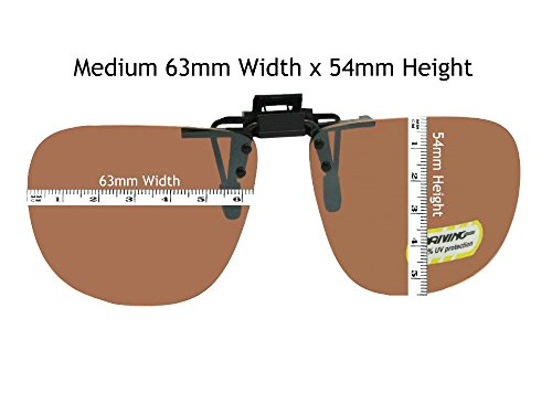 Amber Square Non Polarized Flip Up Sunglasses With Sunglass Rage Pouch (Med 63mm Wide x 54mm - Polarized Up Flip Sunglasses