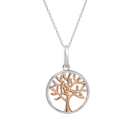 Sterling Silver Round Rose Gold Tone Open Cut Tree of Life Necklace Pendant, 17mm (Costume Shop South Rd)