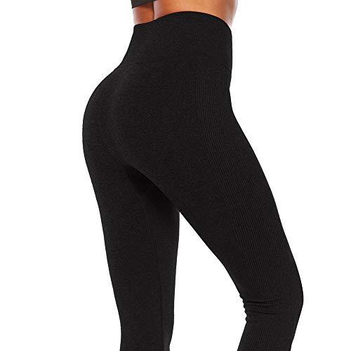 Pantalones de yoga de las mujeres con tope Scrunch push up alta cintura control de abdomen, color sólido gris negro deportes...