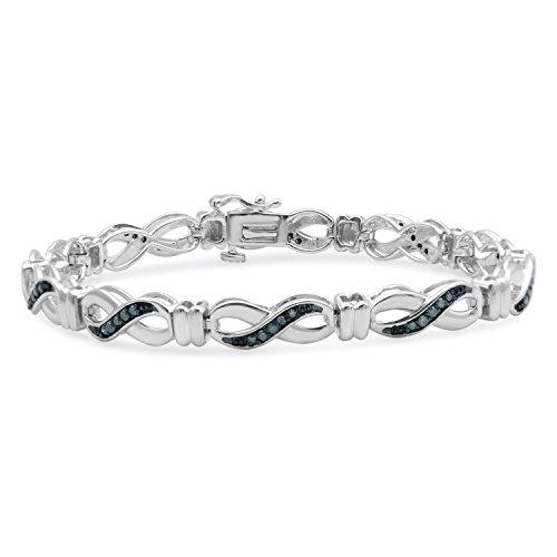 Jewelili Sterling Silver Blue Diamond Infinity Link Bracelet,1/2cttw. 7.25