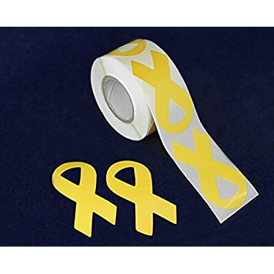 Fundraising For A Cause 250 Yellow Ribbon Stickers - Large Ribbon (1 roll): Toys & Games
