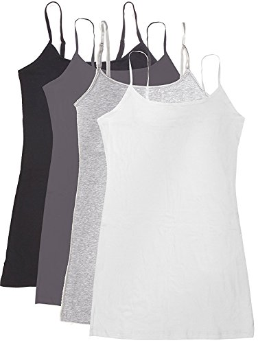 Active Basic Women's Basic Casual Plain Camisole Cami Top Tank Junior and Plus Sizes - 4 Pack Pack Deal (Cam Package)