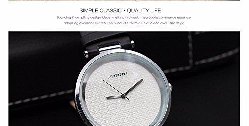 Amazon.com: Relojes de Hombre Super Slim Luxury Casual Watches Mens Quartz Analog Leather Fashion Wristwatch RE0053 (White/Silver): Everything Else