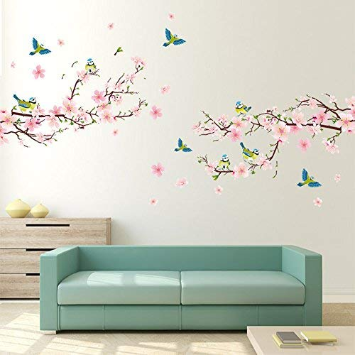 Alicemall Pink Blossom Flower Tree Birds Wall Stickers Waterproof Wall...