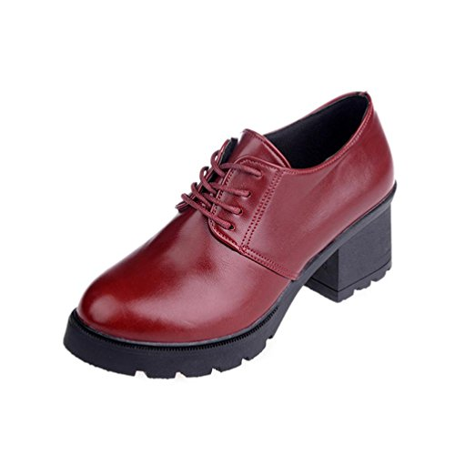 HCFKJ Ladies Women's Spring Casual Martin Boots Fashion Vintage Chelsea Shoes Square Heel Outdoor Lace-up Ankle Boots For Teens Girls Wine