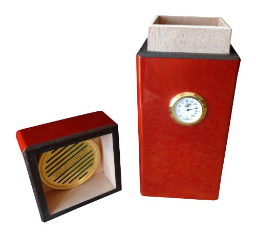 BCIC Cigar - 16 Ct Latin-American Made Humidor, Vertical Design - Gloss Mahogany - Montecristo Usa Cigars
