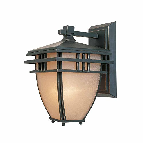 World Imports 8.75 in. Aged Bronze Patina Outdoor Wall Sconce with Ochere Glass