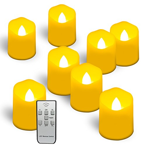 Homemory 9PCS Flameless Candles with Remote and Timer - Votive Tealight Candles - LED Tea Lights - Unscented Outdoor Flickering Candles - Battery Operated Candles by Homemory