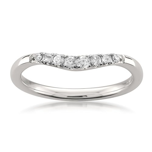14k White Gold Baguette & Round Diamond Curved Wedding Band Ring (1/7 cttw, H-I, SI2-I1), Size (Curved Womens Wedding Ring)