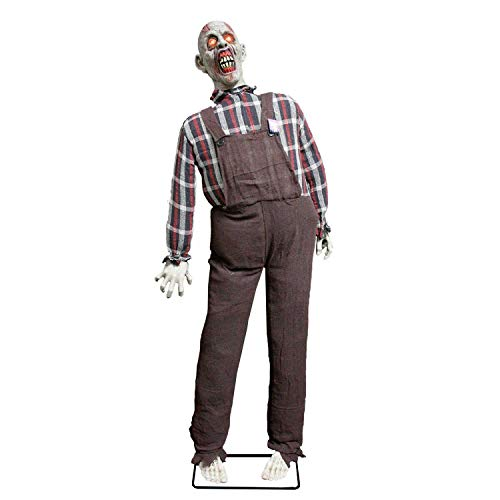 Halloween Haunters Life Size Stand Up Speaking Farmer Zombie Animated Rocking Moving Torso Prop Decoration with Red Light Up Eyes - Screams Brains, Dead Body Corpse - Haunted House Graveyard,