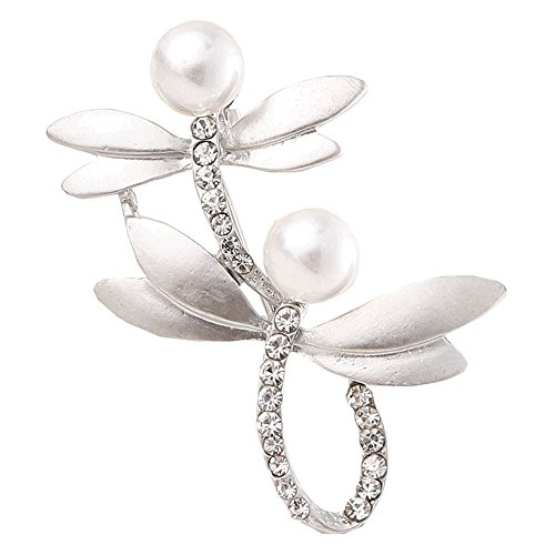 Winter's Secret Grey Pearl Brooches Two Dragonflies High-grade Dumb Silver Diamond Accented Corsage