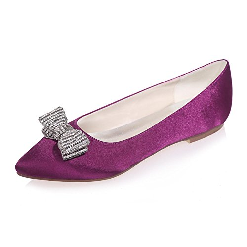 L Plus YC Disponibles Pointue De Soie De avec Mariage Couleurs Plat purple De SoiréE Et FêTe Femme rrq74