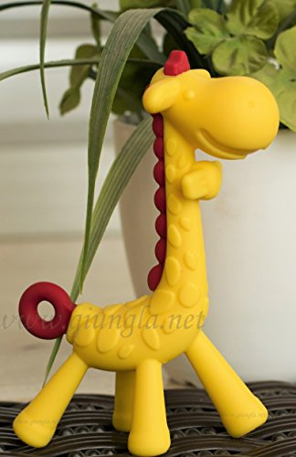 Giungla Giraffe Teether. 100% food grade silicone teether toy. A soother that is free from BPA or other harmful materials. Lovely design for baby.(Yellow and Red) - Recalls Food Fda