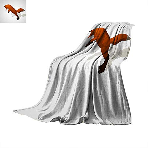 (Angoueleven Fleece Blanket Throw D Illustration of Origami Fox on his hind Legs Throw Blanket 70