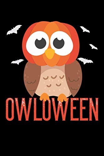 Notebook: Owl Halloween Owloween Pumpkin Head And Bats Gift 120 Pages, 6X9 Inches, Graph