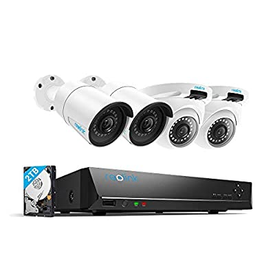 Reolink 4MP 8CH PoE Video Surveillance System, 2 x Bullet & 2 x Dome Wired Outdoor 1440P PoE IP Cameras, 5MP/4MP Supported 8 Channel NVR Security System w/ 2TB HDD for 7/24 Recording RLK8-410B2D2 by Reolink Digital